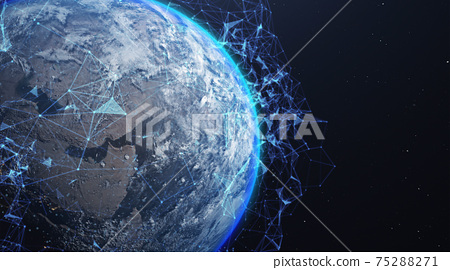 A networking concept. Global digital connections. Elements of this image furnished by NASA. 3d illustration 75288271
