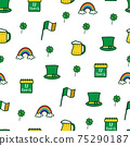 Saint Patrick s Day seamless pattern. Holiday Vector Illustration Background 75290187