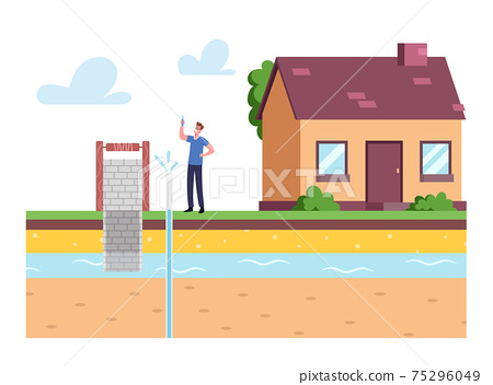 Man at House Front Yard Holding Test Tube with Aqua Sample Testing Groundwater or Artesian Water for Well Drilling 75296049