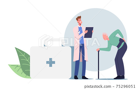 Old Male Character with Walking Cane Visiting Doctor for Sore Back Treatment. Backache and Lumbago Disease Diagnosis 75296051