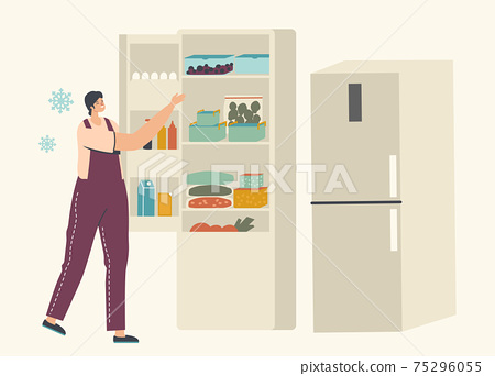 Young Woman Stand near Open Refrigerator with Packages of Frozen Vegetables and Containers with Iced Berries or Products 75296055