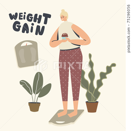 Weight Gain Concept. Female Character Stand on Scales with Cupcake in Hand Ignoring Obesity. Woman Unhealthy Lifestyle 75296056