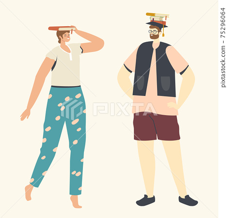 People Enthusiastically Reading with Books Lying on Head. Young Woman and Man Readers or Students Spend Time in Library 75296064