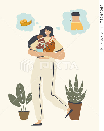 Weight Gain, Diet Failure, Disruption. Female Character Carry Pile of Sweets. Woman Eating Fast Food Enjoying Fastfood 75296066