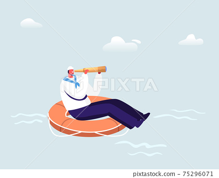 Sailor Floating on Huge Life Buoy Looking Far in Spyglass in Ocean. Male Character in White Uniform and Cap, Ship Crew 75296071