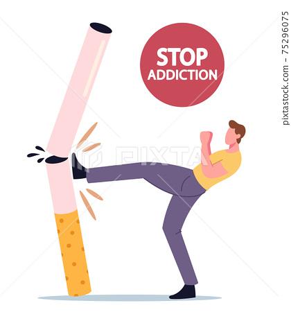 Stop Unhealthy Habit, Smoking Addiction Concept. Tiny Male Character Kicking Huge Cigarette. Man Give Up Smoker Life 75296075