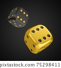 3d rendering two rolling dices isolated on black background 75298411
