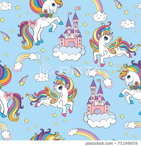 Seamless pattern cute unicorns in the cloudy sky blue 75299059