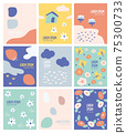 set of icons for design.abstract design wallpaper.cute simple shape with bright colour for design.poster, postcard,card,template ideas for minimal style. 75300733