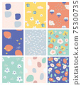 set of seamless pattern with cute shape.abstract pattern print for design.vector and illustration for kids.doodle colourful collection backgrounds. 75300735