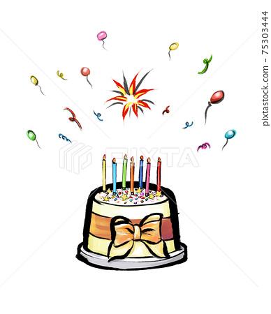 事件和慶祝活動與蛋糕的概念形象 75303444