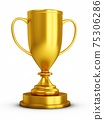 3D Rendering Golden Award Trophy Cup isolated on white background 75306286