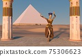 Queen Nefertiti dancing in front of the great pyramid of Giza and a view of the desert in the ancient temple. Historical animation. The Great Pyramids In Giza Valley, Cairo, Egypt. 3d rendering. 75306623