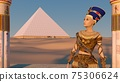 Queen Nefertiti in front of the great pyramid of Giza and a view of the desert in the ancient temple. Historical animation. The Great Pyramids In Giza Valley, Cairo, Egypt. 3d rendering. 75306624