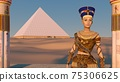 Queen Nefertiti in front of the great pyramid of Giza and a view of the desert in the ancient temple. Historical animation. The Great Pyramids In Giza Valley, Cairo, Egypt. 3d rendering. 75306625