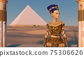 Queen Nefertiti in front of the great pyramid of Giza and a view of the desert in the ancient temple. Historical animation. The Great Pyramids In Giza Valley, Cairo, Egypt. 3d rendering. 75306626