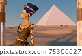Queen Nefertiti in front of the great pyramid of Giza and a view of the desert in the ancient temple. Historical animation. The Great Pyramids In Giza Valley, Cairo, Egypt. 3d rendering. 75306627