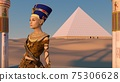 Queen Nefertiti in front of the great pyramid of Giza and a view of the desert in the ancient temple. Historical animation. The Great Pyramids In Giza Valley, Cairo, Egypt. 3d rendering. 75306628
