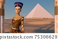 Queen Nefertiti in front of the great pyramid of Giza and a view of the desert in the ancient temple. Historical animation. The Great Pyramids In Giza Valley, Cairo, Egypt. 3d rendering. 75306629