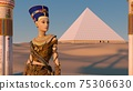 Queen Nefertiti in front of the great pyramid of Giza and a view of the desert in the ancient temple. Historical animation. The Great Pyramids In Giza Valley, Cairo, Egypt. 3d rendering. 75306630