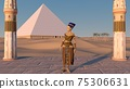 Queen Nefertiti in front of the great pyramid of Giza and a view of the desert in the ancient temple. Historical animation. The Great Pyramids In Giza Valley, Cairo, Egypt. 3d rendering. 75306631
