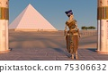Queen Nefertiti admires the pyramids and desert views from the ancient temple. Historical animation. The Great Pyramids In Giza Valley, Cairo, Egypt. 3d rendering. 75306632