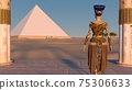 Queen Nefertiti admires the pyramids and desert views from the ancient temple. Historical animation. The Great Pyramids In Giza Valley, Cairo, Egypt. 3d rendering. 75306633
