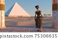 Queen Nefertiti admires the pyramids and desert views from the ancient temple. Historical animation. The Great Pyramids In Giza Valley, Cairo, Egypt. 3d rendering. 75306635