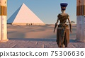 Queen Nefertiti admires the pyramids and desert views from the ancient temple. Historical animation. The Great Pyramids In Giza Valley, Cairo, Egypt. 3d rendering. 75306636