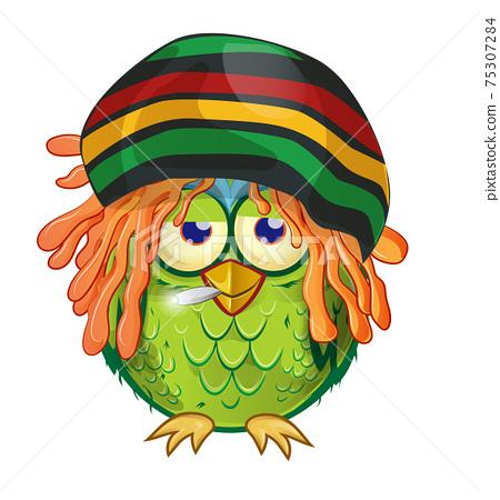 jamaican owl  mascot cartoon isolated on white bachground 75307284