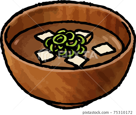 [Hand-drawn vector food illustration material] Illustration of miso soup of red tofu 75310172