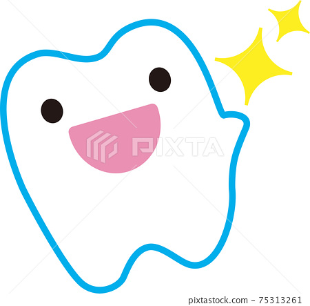 A cute tooth character who is happy to have clean teeth 75313261