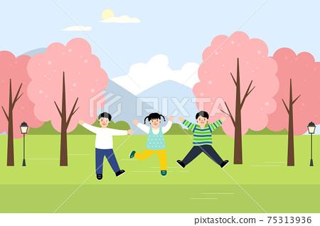 벚꽃 핀 공원에서 웃고 있는 아이들 75313936