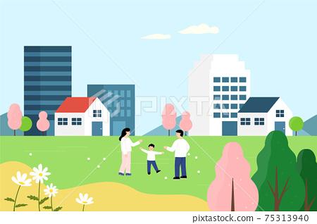 家庭散步的春天 75313940