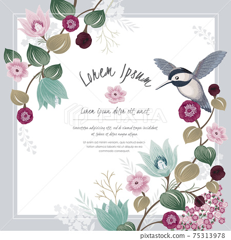 Vector illustration a floral frame with a cute bird in spring for Wedding, anniversary, birthday and party. Design for banner, poster, card, invitation and scrapbook 75313978