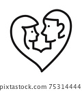 couple ahead with a heart icon vector illustration isolated on white 75314444