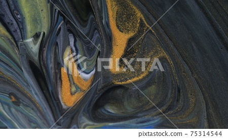 Abstract colorful background of spreading colors. Abstract dark paint background. 75314544