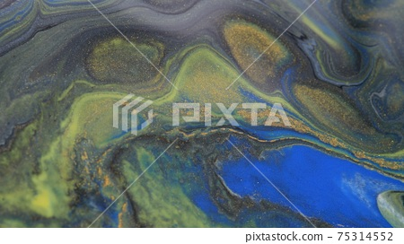 Abstract colorful background of spreading colors. Abstract dark paint background. 75314552