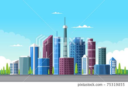 Sky City Building Construction Cityscape Skyline Business Illustration 75319855