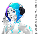 Female android with headphones 75320074