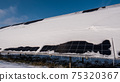 A layer of snow on the panels of a solar power plant. Green energy problems and weather dependence 75320367