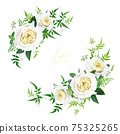Light yellow and greenery floral editable bouquet set. Elegant cabbage rose flowers, maidenhair fern, vine green leaves, eucalyptus branches vector art illustration. Wedding invite, save the date card 75325265