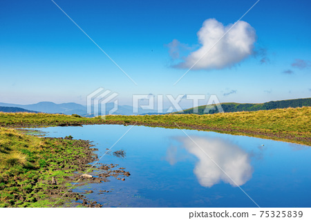 pond on the mountain meadow. beautiful summer landscape in morning light. grass on the hills. ridge in the distance 75325839