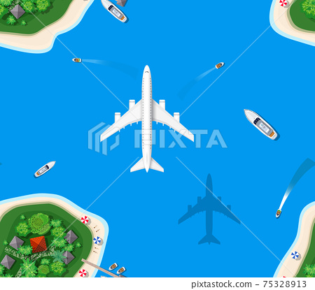 Seamless pattern landscape for recreation. Top view of the island 75328913