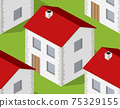 Isometrics village seamless pattern. Suburban structure landscape 75329155