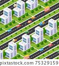 City boulevard isometric avenue. Transport car, urban and asphalt 75329159