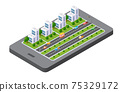 3D map of isometric city mobile phone on the street. Navigation technology 75329172