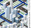 Isometric set of blocks module of areas of the city construction 75329175