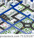 Isometric set of blocks module of areas of the city construction 75329187
