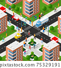 Isometric 3d street downtown architecture district part 75329191